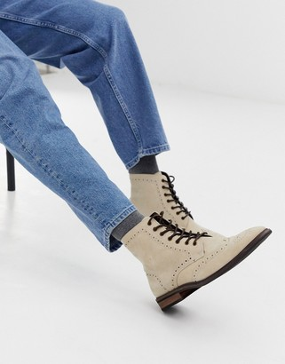 Asos Design DESIGN brogue boots in stone suede with natural sole