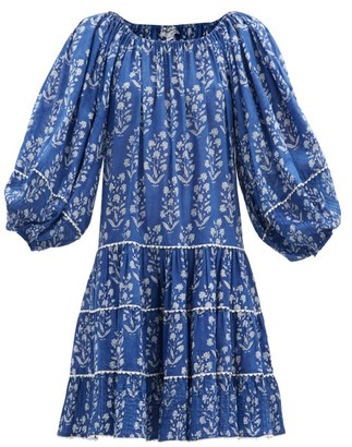 Juliet Dunn Balloon-sleeve Floral-print Cotton-voile Dress - Blue White