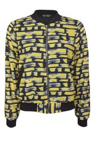Select Fashion Fashion Womens Yellow Brush Stroke Bomber Jacket - size 12