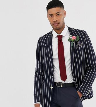 ASOS DESIGN Tall wedding slim blazer in navy stripe with gold buttons