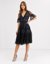 Needle & Thread embroidered lace midi dress in black and charcoal blue