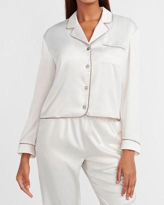 Express Satin Long Sleeve Pajama Shirt