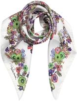 Roberto Cavalli Pink Multi Peafowls and Flowers Print Silk Square Scarf