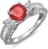 DazzlingRock Collection 3.15 Carat (ctw) 14k White Gold Ruby & White Diamond 3 Stone Engagement Bridal Ring (Size 7.5)
