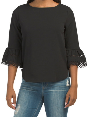 Made In Usa Laser Cut Crepe Top