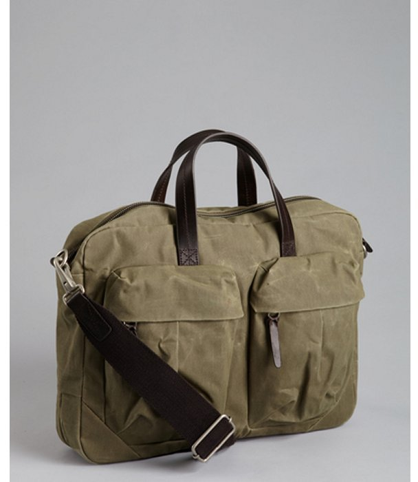 Property Of leaf green waxed canvas and leather accent 'Tommy Work' briefcase