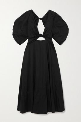Mara Hoffman Net Sustain Leila Knotted Organic Cotton-poplin Maxi Dress - Black