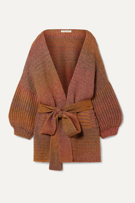 LoveShackFancy Brady Belted Knitted Cardigan - Brick
