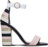 Miss KG Ebony panelled woven raffia sandals