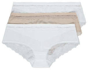 George White No VPL Lace Back Short Knickers 3 Pack