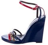 Roberto Cavalli Patent Leather Wedge Sandals