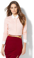 New York & Co. 7th Avenue - Madison Stretch Shirt - French Cuff - Lurex Stripe - Petite