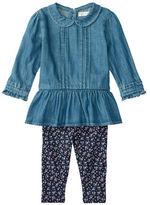 Ralph Lauren Baby Girls Two-Piece Denim Top and Printed Leggings Set