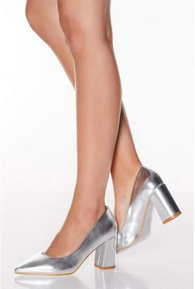 Quiz Silver Flare Heel Point Toe Court Shoes