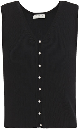 Sandro Simone Cropped Faux Pearl-embellished Ribbed-knit Top
