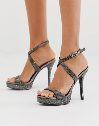 Steve Madden Shoshana black rhinestone crystals platform heeled sandals