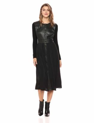 BCBGMAXAZRIA Azria Women's Faux Leather Vest Dress