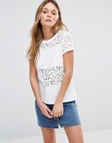 Jack Wills Hearden Lace Panel T-Shirt