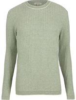 River Island MensGreen ribbed crew neck slim sweater