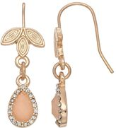 Lauren Conrad Leafy Nickel Free Halo Teardrop Earrings