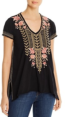 Johnny Was Rianne Knit Embroidered Cotton Top