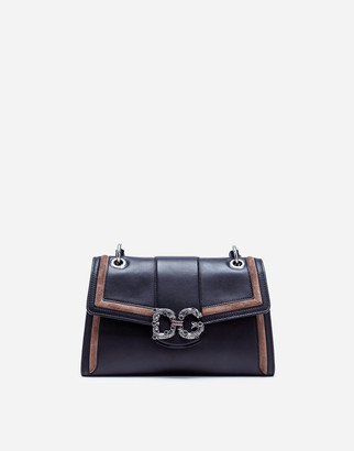 Dolce & Gabbana Medium Amore Bag In Calfskin And Split-Grain Leather