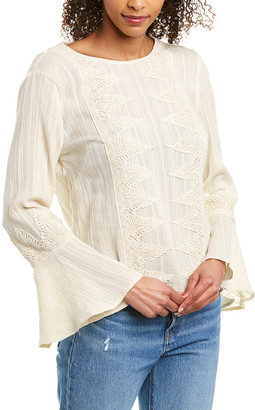 Leo & Sage Lace-Trim Blouse