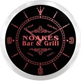 AdvPro Clock ncu32630-r NOAKES Family Name Bar & Grill Cold Beer Neon Sign LED Wall Clock