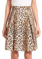 Carolina Herrera Cheetah-Print Stretch Cotton Skirt