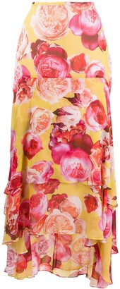 Pinko Draped Floral Print Skirt