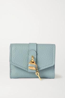Chloé Aby Textured-leather Wallet - Blue