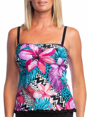 Maxine Of Hollywood Women's Ruffle Bandeau Tankini Swimsuit Top