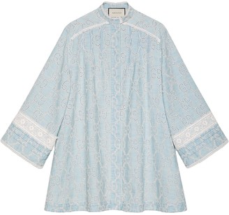 Gucci GG embroidered denim dress with lace