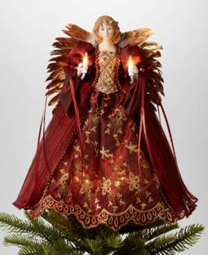 """Holiday Lane 14""""H Angel Christmas Tree Topper with Led Lights in Burgundy Dress, Created for Macy's"""