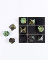 Blue Carreon Home Brass & Shell Tic Tac Toe set