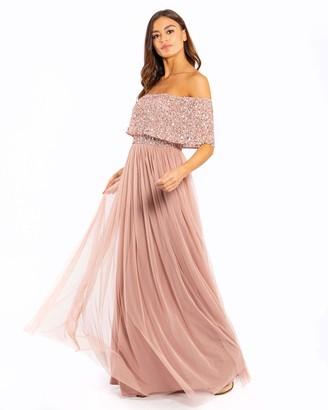 Maya Deluxe Women's Maya Pale Mauve Bardot Embellished Maxi Dress Bridesmaid 16