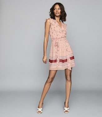 Reiss STEPHANIE PRINTED MINI DRESS Pink