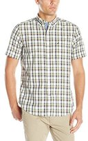 Nautica Men's Classic Fit Oyster Plaid Short Sleeve Shirt