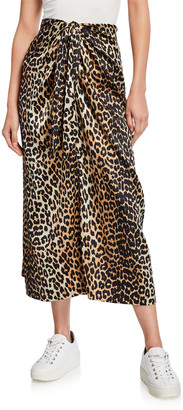 Ganni Stretch Satin Leopard-Print Long Sarong Skirt