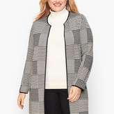 Talbots Double Knit Plaid Open Sweater