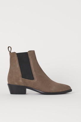H&M Suede Ankle Boots - Beige
