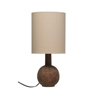 Creative Co-op Terracotta Lamp With Linen Lampshade Matte Rust