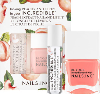 Nails Inc Peachy and Perky Lip Gloss and Nail Polish Set