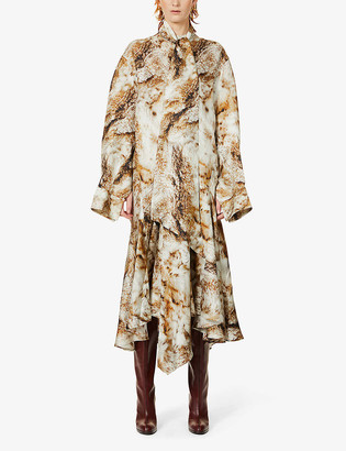Petar Petrov Anrea fox-print silk-twill maxi dress