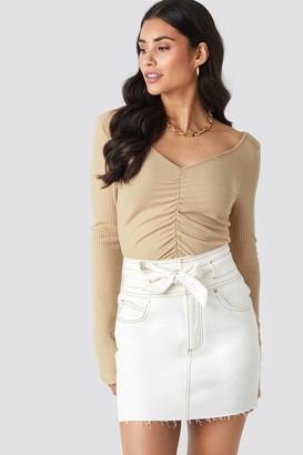 NA-KD Belted Contrast Stitch Denim Mini Skirt White