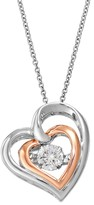 Floating Diamonluxe Floating DiamonLuxe 9/10 Carat T.W. Simulated Diamond Two Tone Sterling Silver Double Heart Pendant Necklace