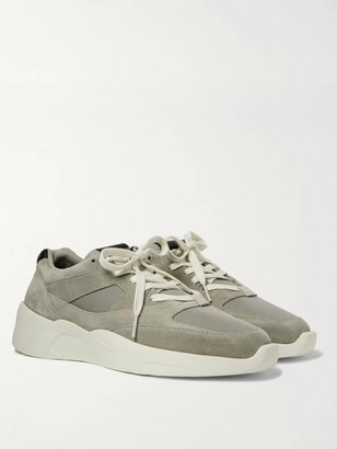 FEAR OF GOD ESSENTIALS Leather-Trimmed Suede And Mesh Sneakers