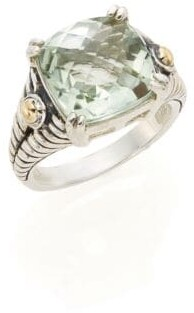 Effy Green Amethyst, Sterling Silver & 18K Yellow Gold Square Ring