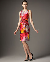 David Meister Abstract-Print Pleated Sheath Dress