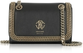 Roberto Cavalli Black Leather Chain Shoulder Bag